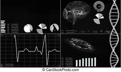 Futuristic user interface with heart scan and...