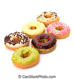 Delicious doughnuts isolated on white background - Delicious...