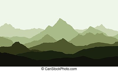 panoramic view of the mountain landscape with fog in the valley below with the alpenglow green sky - vector