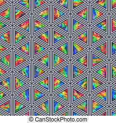 Creative Seamless Pattern of Holographic Triangles of...