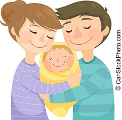 Parents hugging a baby