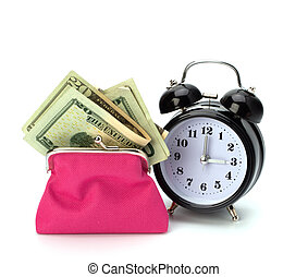 Money accumulation concept Money and alarm clock isolated on...