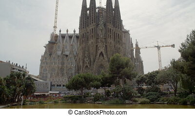 Wide shot of Sagrada familia in Barcelona Spain - Wide...