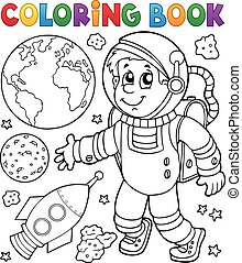 Coloring book astronaut theme 1 - eps10 vector illustration.
