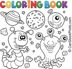 Coloring book monster theme 2 - eps10 vector illustration.