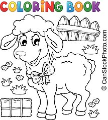 Coloring book sheep theme 3 - eps10 vector illustration.