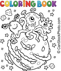Coloring book three aliens on planet - eps10 vector...