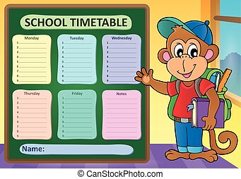Weekly school timetable subject 9 - eps10 vector...