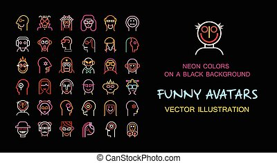Funny vector avatar set - Neon color isolated on a black...