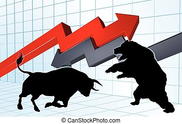 Bears Versus Bulls Stock Market Concept - Silhouette bull...