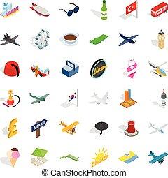 Plane travel icons set, isometric style - Plane travel icons...