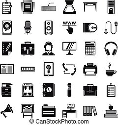 Work computer icons set, simple style - Work computer icons...