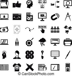 Web marketing icons set, simple style - Web marketing icons...
