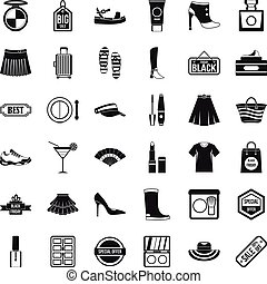 Woman shop icons set, simple style