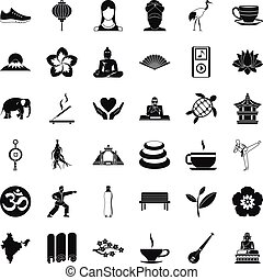 Yoga relaxation icons set, simple style