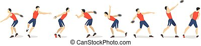 Discus throw set. Set of athlete's motions of throwing the...