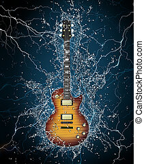 Electric Guitar in Water on Black Background. Computer...