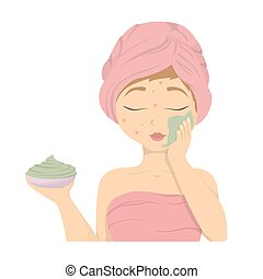 Woman with facial mask.