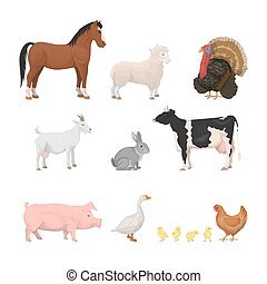 Farm animals set. Isolated animals like horse, chicken and...