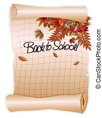 Back to school background with a leaf, in old style, vector...