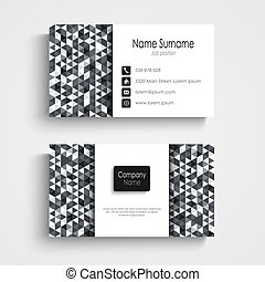 Business card with abstract black white triangles template