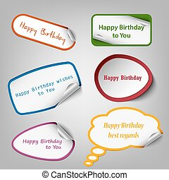 Collection of colorful birthday stickers template
