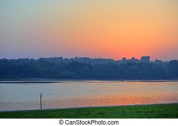 Sunrise over Danube river in Moldova