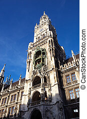 Munich Neues Rathaus - The towers and facade of the Neues...
