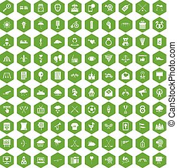100 arrow icons hexagon green - 100 arrow icons set in green...