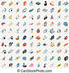 100 seo and web icons set, isometric 3d style