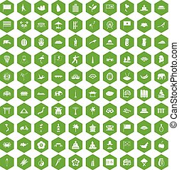 100 asian icons hexagon green - 100 asian icons set in green...