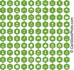 100 barber icons hexagon green - 100 barber icons set in...