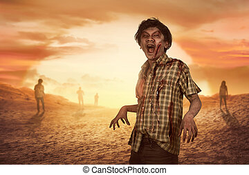 Crowd of aggresive asian zombies walking around over sunset...