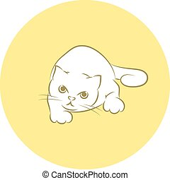 Cat Preparing For Attack - Line Art Vector Illustration of A...
