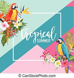 Tropical Flowers and Parrot Birds Summer Banner, Graphic...