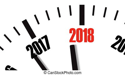 Animation of clock countdown from year 2017 to 2018. UltraHD...