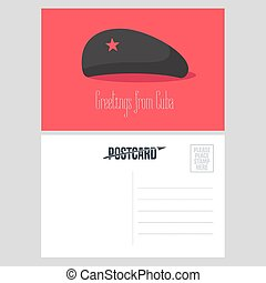 Postcard from Cuba with Che Guevara red star hat vector illustration
