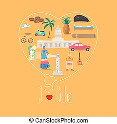 Heart shape illustration with I love Cuba quote