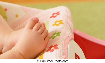 little feet a newborn baby. Slow motion Full HD video