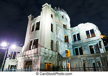 Bomb Dome in Hiroshima of Japan at night