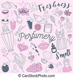 Cosmetics and Perfumery Freehand Doodle. Hand Drawn Perfume...