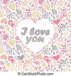 card with hand drawn flowers and hearts - Colorful card with...