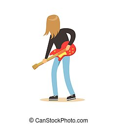 Long haired guitarist is playing on electric guitar vector Illustration