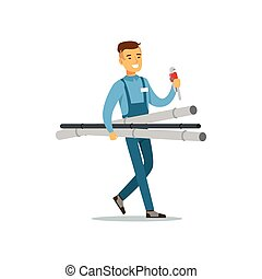 Proffesional plumber man character walking with pipes and...