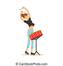 Young beautiful girl playing drum vector Illustration on a...