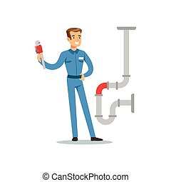 Proffesional plumber man character with monkey wrench...