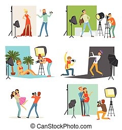 Photo studio set, photographers taking pictures of different people with professional photographic equipment vector Illustrations