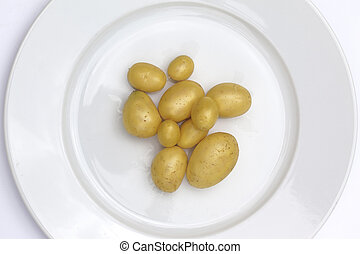 Potatoes on a plate - Close up of potatoes on a white plate...