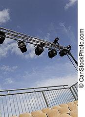 Ramp of spotlights before an outdoor show