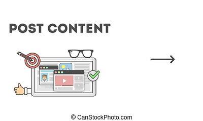 Social media process. Set of steps in social media...